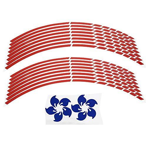 Adesivi ruote per cerchioni, 16pcs bici moto 16-18 pollici riflettenti adesivi striscia ruota accessorio decorazione(Rosso)