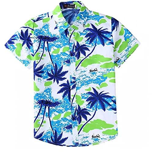 fregthf Camisa Hawaiana Botón de los Hombres de Down de Manga Corta Camisa de la Manera Informal