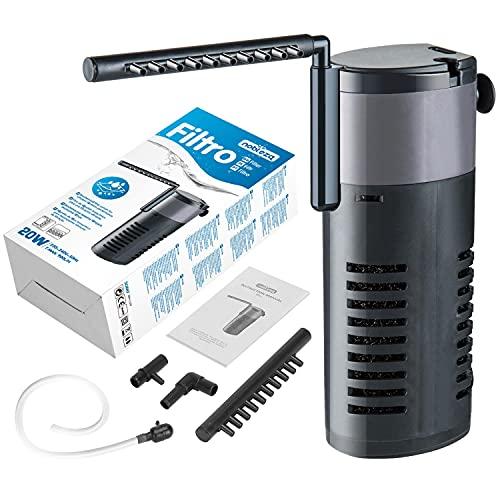 Nobleza - 20w Filtro de Acuario Interno para Agua Limpia y Saludable, fácil de Mantener, filtración mecánica, biológica y química, Varios tamaños