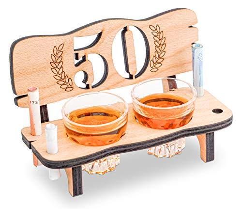 Thunderdog Banco de chupitos Grabado con el número del año para cumpleaños, Aniversario, Laurel con número años (50)