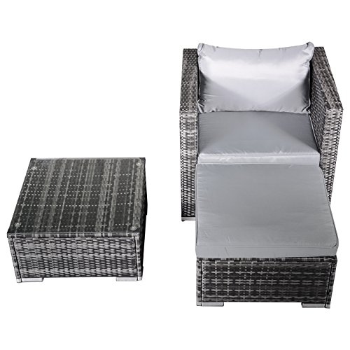 Hansson Polyrattan Gartenmöbel Lounge Set Sitzgruppe Garnitur Poly Rattan inkl. Sofa Sessel Kissen Hocker Tisch mit Glas (1 x Sessel, 1 x Tisch & Hocker)