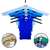 Mr. Laundry Clothing Drying Rack Hangers – 5 Extendable Cascading Laundry Hangers and Over The Door Hook – Sweater Drying Rack Air Drying System – Laundry Room Organizer (Basics)