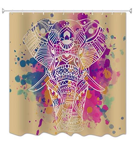A.Monamour Indische Mandala Stammes-Tätowierung Bunter Elefantkopf Grafischer Druck Badezimmerdekoration Polyester Wasserdichter Duschvorhänge Textil 180X180 cm / 72X72 Zoll