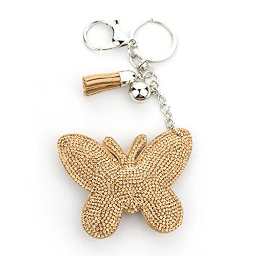 MANUMAR Schlüsselanhänger Handtaschen Dekoration in Schmetterling Motiv aus glitzernden Strass Steinen mit Kordel und Fransen Geschenkidee
