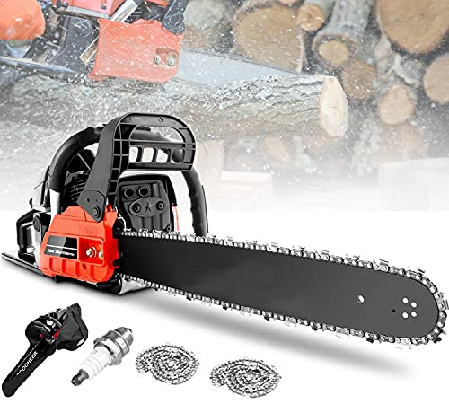 KGK 20' Gas Chainsaw Petrol Chainsaw 62CC 2 Stroke Gas Powered Cordless Chainsaw for Farm Garden Ranch Power Chain Saws for Trees,3.5 HP Gas Power Saw with 2 Chains (62cc)
