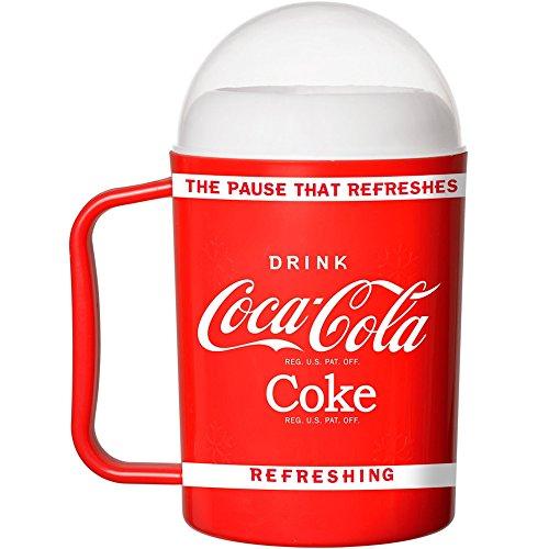 Coca-Cola Coke 36-1C-003 Mug Verre à granité magique avec couvercle et paille cuillère Rouge blanc et transparent D9 x H17 cm