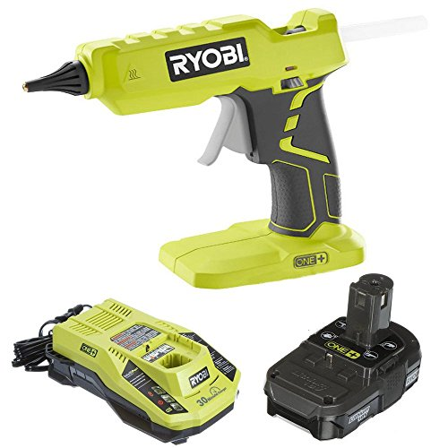 Ryobi Glue Gun P305 with Charger & Lithium-ion battery P128 (Renewed)