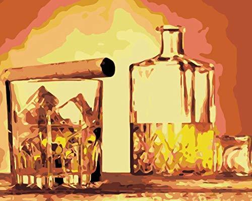 Pintar por números para niños Adultos Kit Tobacco and alcohol de Pintura al óleo DIY Principiante con Pinceles y Pinturas Decoraciones para el Hogar sin Marco de 40 X 50 cm