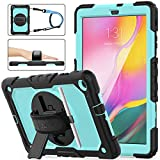 SEYMAC STOCK for Samsung Galaxy Tab A 10.1 T510/T515 Case 2019, [Full-Body] & [Shock Proof] Armor Protective Case with 360 Rotating Stand &Strap for Galaxy Tab A 10.1 2019 (SkyBlue+Black)