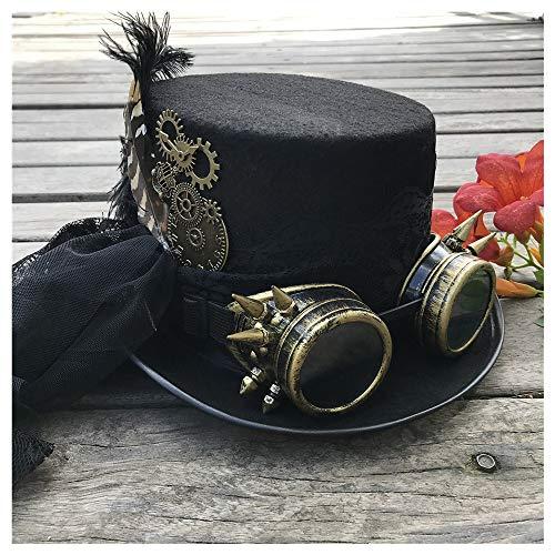 NICE' living hall Sala de Estar Agradable' Steampunk Top Hat 2019 Moda Mujer Hecho a Mano Engranaje Gafas y Encaje Etapa Magia Sombrero Fiesta Sombrero Talla 57 cm (Color : Black, Size : 57)