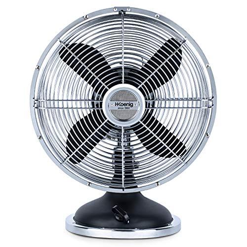 H.Koenig BLACK JOE50 Negro, Ventilador Eléctrico Retro Vintage, Diseño Silencioso, 3 Velocidades, Fijo y Oscilación 90ºC, Metal, Ajuste Vertical, Pie Antideslizante, 50 W