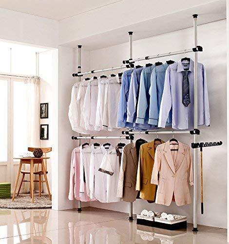 Garment Rack Portable Indoor Garment Hanger Tools Heavy-Duty Adjustable DIY Coat Hanger Clothes Wardrobe 3 Poles 4 Bars Home Hanging Rack