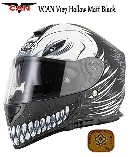 Motocicleta VCAN V127Hueca Negro Mate Casco Integral para Motociclet