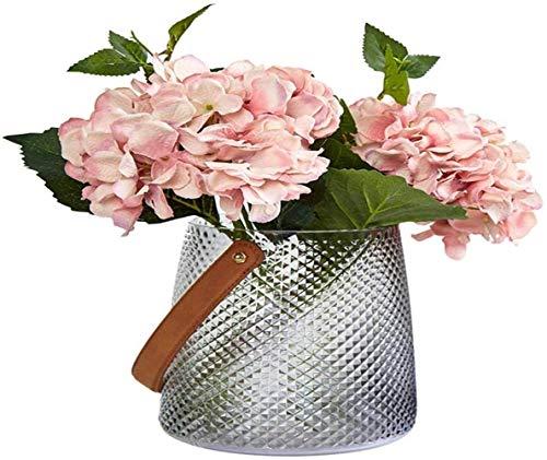 Grijs glazen vaas met handvat zonder bloemen Home Decoration, Trompet (Color : Large)