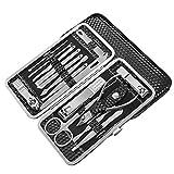 Set de manicura para hombre con funda de piel sintética negra, 16 piezas herramientas profesionales de aseo de acero inoxidable para viajes y hogar, regalo para hombres y mujeres