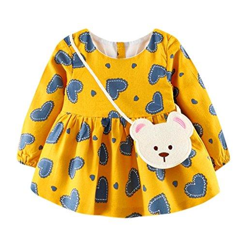 Ouneed® 6-24 Mois Bebe Fille Robe Hiver Vetement Ensemble Coeur Motifs T Shirt Manche Robe Combinaison (24m, Juane)