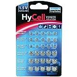 HyCell Jeu économique de 30 piles bouton  alcalines / 5 x pour chaque type R621, LR736, LR626, LR1130, 386A. LR1154 / Idéal pour les clés de voiture, les appareils TAN, les jouets, les montres etc.
