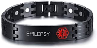 Free Engraving-Stainless Steel Magnetic Therapy Healthy Medical Alert ID Bracelets for Men