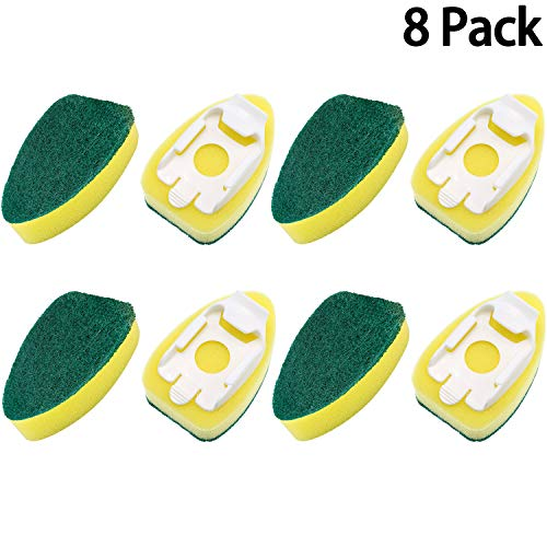 8 Pack Dish Wand Refills Sponge Heads Brush Replacement Sponge Refill Sponge Pads for Kitchen Room Cleaning Supplies