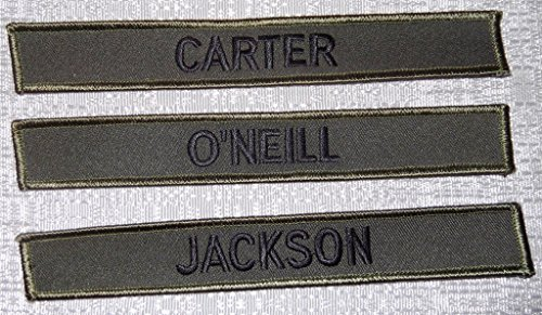 Stargate SG-1 Set of 3 Uniform Name Chest Insignia Embroidered PATCHES