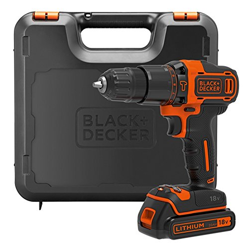 BLACK+DECKER 18 V Cordless Hammer Drill 2-Gear with 1.5 Ah Lithium-Ion Battery and Kitbox, BDCHD18K-GB
