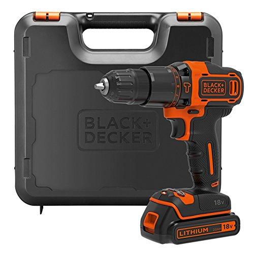 BLACK+DECKER 18 V Cordless Hammer Drill 2-Gear with 1.5 Ah...