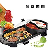 PAKASEPT Portable Electric Hot Pot Grill, Electric Barbecue Grill Indoor Hot Pot with Frying Pan Smokeless BBQ Dual Temperature Control for 1-12 People Nonstick Electric Griddle - Large Capacity