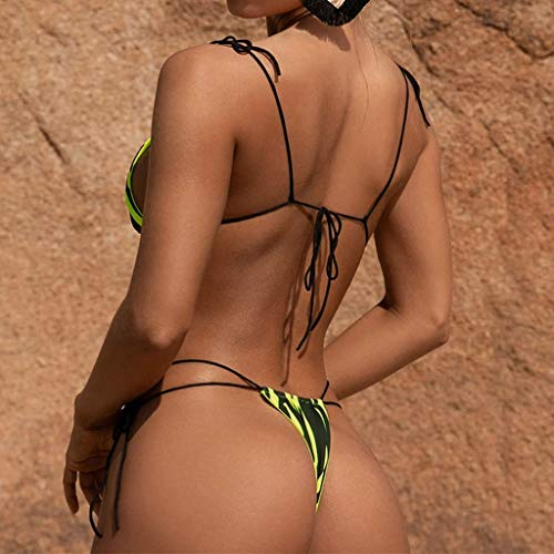 riou Bikinis Mujer 2019 Push up Bikini de Tres Puntos con Estampado de Cebra y Tira Mujeres Conjunto de Traje de BañO Brasileños Bañador Ropa de Dos Piezas vikinis