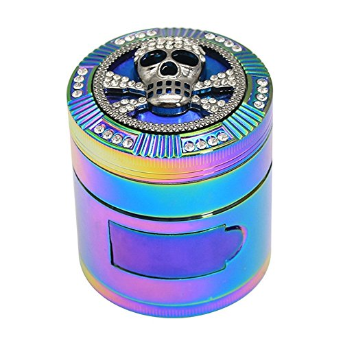 Finzdy Animal and Diamond Rainbow Herb Grinder 2.2 Inches 4 Piece Grinder with Pollen Catcher Durable Zinc Alloy Herb Spice Heavy Duty Grinder with scrapper and Easy Access Window (Skull)
