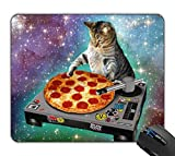 New Top Funny Space Cat and Pizza Rectangle Non-Slip Rubber Mouse Pad Mousepad...