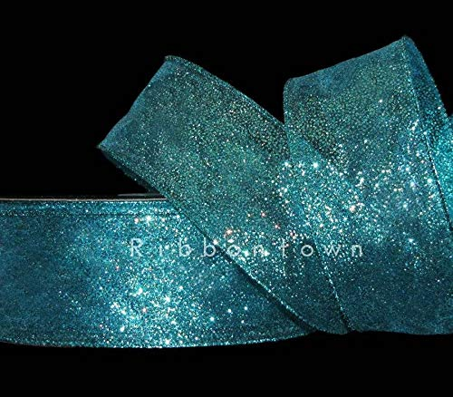5 Yards Mermaid Blue Green Peacock Color Glitter Sheer Wired Ribbon 2 1/2'W, Beading, Jewelry Making, DIY Crafting, Arts & Sewing by Perfect Beads Store