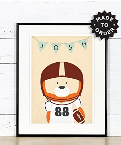 Amerikanischer Fußball, Löwe, Kinderzimmer Bild, Poster, Tiere, Bild, Kinderzimmer Deko, Bild für Kinder, Kunstdruck, Bild für Kinderzimmer, Individualisierbar