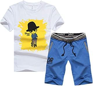 lcky Men's Jogging Sports and Leisure Sportswear T-Shirts and Shorts
