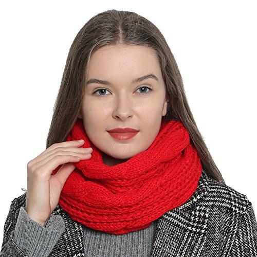 DonDon Damen Winter Schlauchschal warm und weich Strickmuster rot