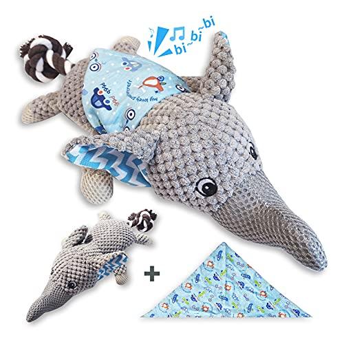 TINGERIA® Hunde Kuscheltier Elephant X-Groß, quietschende Hundespielzeug, Welpenspielzeug, Plüschtier unzerstörbar, interaktive Spielsachen Welpen, Intelligenz Spielzeug für Hunde