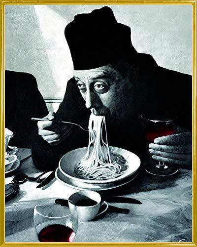 1art1 Kochkunst Poster Kunstdruck und Kunststoff-Rahmen - Spaghetti, Rotwein, Don Camillo (50 x 40cm)