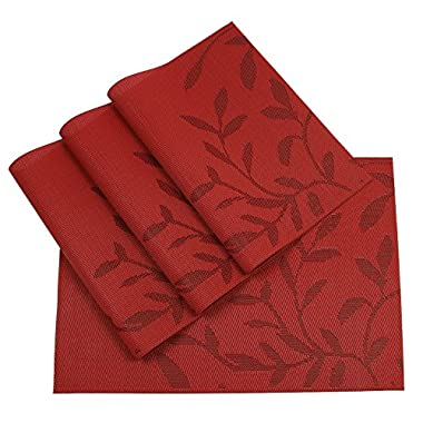 SHACOS Durable Placemats for Dinning Table Prime PVC Place Mats Heat Insulation Table Pads Set of 4 (Red Leaves)
