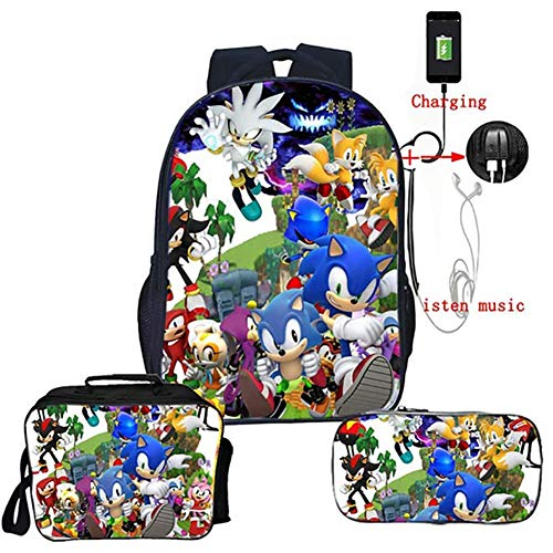 Backpack 16 Inch Bookbag with USB Charging Port 3D Printing Sonic, Schoolbag Daypack And Lunch Box Set for Boys Girls Toddler,I