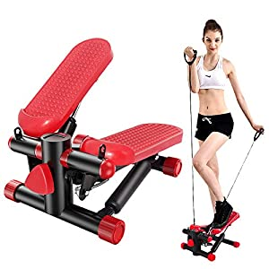 BSET BUY Stepper para el hogar, Twister Stepper con Power Ropes Drehstepper avanzado Up-Down-Stepper con pantalla multifunción, resistencia para entrenamiento en casa (rojo)