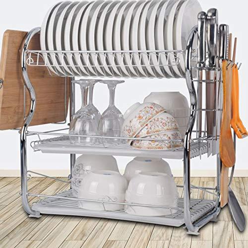 BALLSHOP 3Tier Kitchen Chrome Dish Drainer Cutlery Cup Plates Holder Sink Rack Drip Tray Over Sink Drainer Rack Dish Drainer
