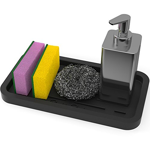 Sponge Holder - Kitchen Sink Organizer - Sink Caddy - Silicone Sink Tray - Soap Holder - Spoon Rest - Multipurpose Use (Black)