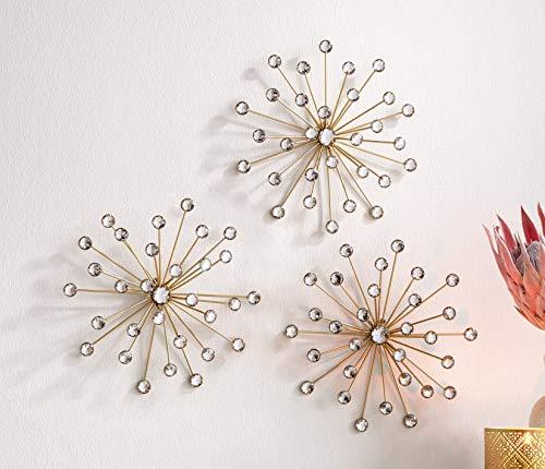 Dekoleidenschaft 3D Wand-Deko Kristall-Blüte aus Metall, Gold und Glassteinen, Ø 25 cm, Wandschmuck in Blumen/Sterne Form