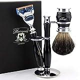 Set de rasage humide de luxe au design premium |||||| Cartouche de fusion compatible avec rasoir de luxe et blaireau noir pur +...