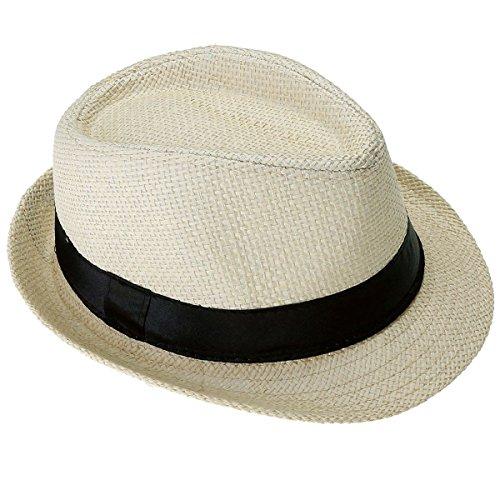 FALETO Herren Damen Panamahut Sonnenhut Sommerhut Beach Hut Strohhut Jazz Hut (Beige)