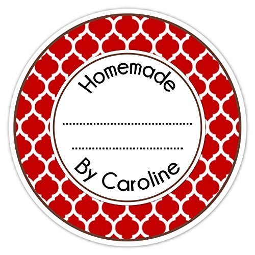 36 From the Kitchen Labels, Red Custom Made For You stickers, Red Quatra foil Homemade Kitchen Labels