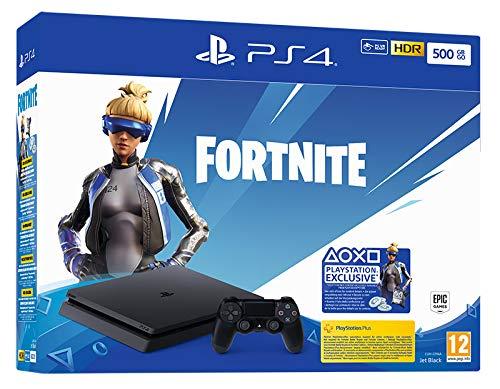 Console PlayStation 4 Slim 500 Go/Voucher Fortnite avec 1 Manette sans Fil Dualshock 4 V2/Châssis F Noir