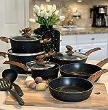 Induction Kitchen Cookware Sets Nonstick - Granite Hammered Pan Set 12 Piece, Dishwasher Safe...