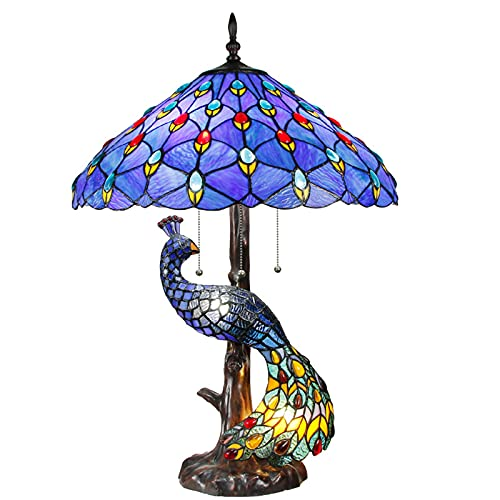 Tiffany Style Lámparas De Mesa, Pavo Real Rústico Shade Shade Lámpara Escritorio Resina Base Lámpara De Tabla Para Sala De Estar Dormitorio Regalo,A