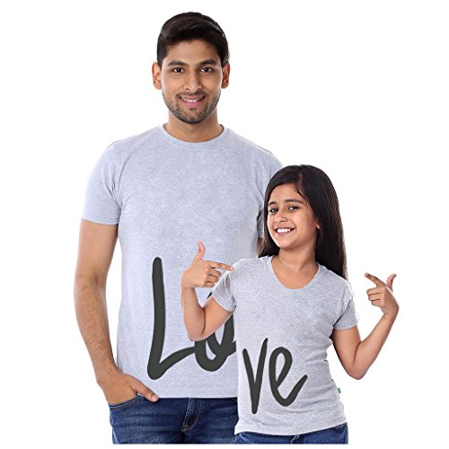 Bon Organik Love Dad and Daughter Tees Best Family Matching Dad and Daughter Tshirts Cotton T-Shirt Set for Father and Daughter(Pack of 2) ((BON329-SP-GM-MG32 Dad XL -Daughter 2-4Y) Grey