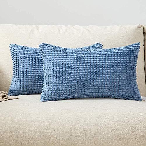 Set von 2 Cord Soft Big Corn Solid dekorative quadratische Kissenbezüge Kissenbezug für Sofa Schlafzimmer-12 x20, 2 Stück_Himmel